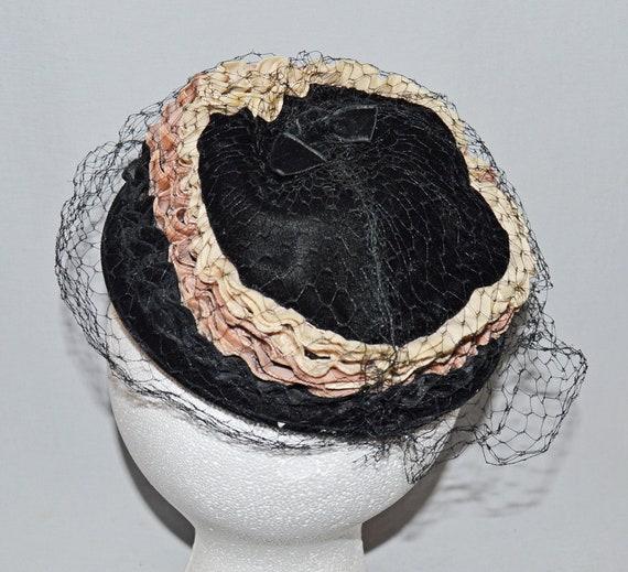 Mod Pillbox Black Velvet with Cream and Tan Velvet Trim 1950s Vintage Ladies/' Hat