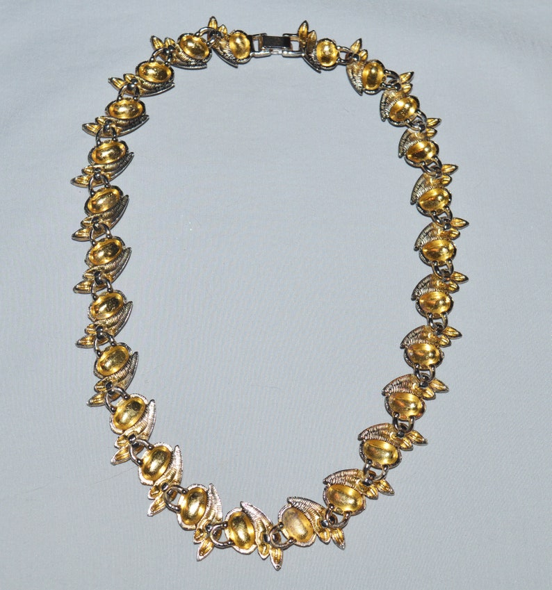 Midcentury Atomic Style Jewelry Vintage Necklace Gold Tone Metal