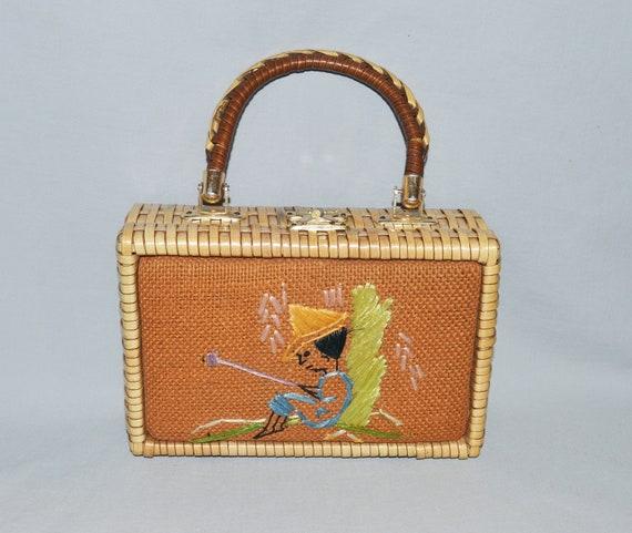 Vintage Wicker Bag or Purse - 1950s, Small Wicker