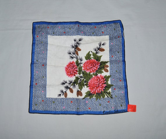 Vintage Handkerchief - Carolyn Schnurer, Blue with