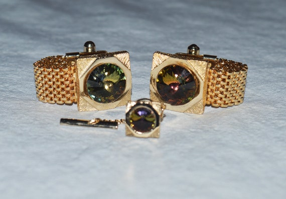 Gold Metal Mesh Accent Cuff Links Gold Diamond Cut Edge Cuff Links Vintage Gold Round Cuff Links With Mesh Loop