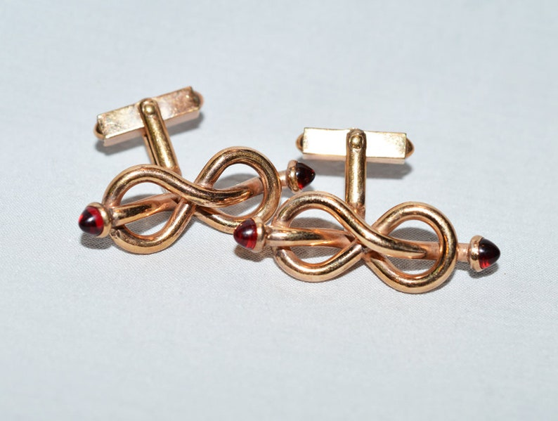 1940s Swank Vintage Cuff Links Figure 8/'s with Red Glass Insets 140 10K RGP