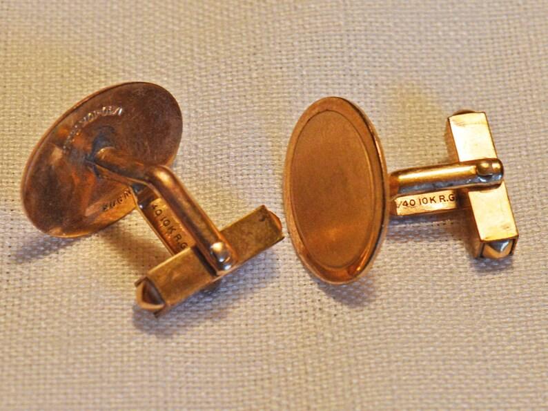 Vintage Cuff Links 1940s? Ovals 10K RGP Swank
