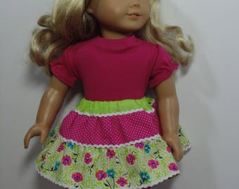 Doll skirt set, pink and green skirt for dolls, 18 inch doll skirt set, 18 inch doll outfit, Doll skirt shirt and leggings, Spring outfit