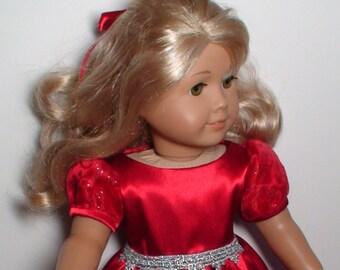 doll dress for 18 inch american girl handmade snowmen christmas red green 160