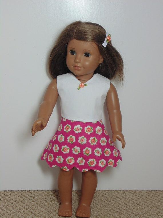Doll Clothes HandMade Fits American Girl 18 Spring Skirt Blouse Over Skirt Peach 3pc