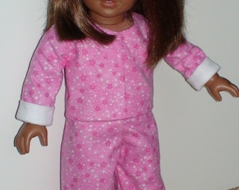 Doll clothes, 2 piece flannel pajamas, 2 piece doll flannel pajamas, doll flannel pjs, doll flannel pajamas