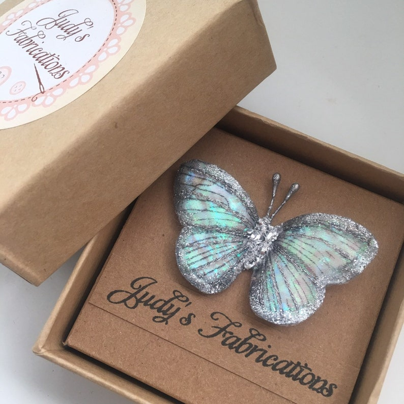 Handmade iridescent butterfly brooch /'Gift boxed option/'
