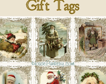 Victorian Santa Christmas Gift Tags printable instant download 6 per page