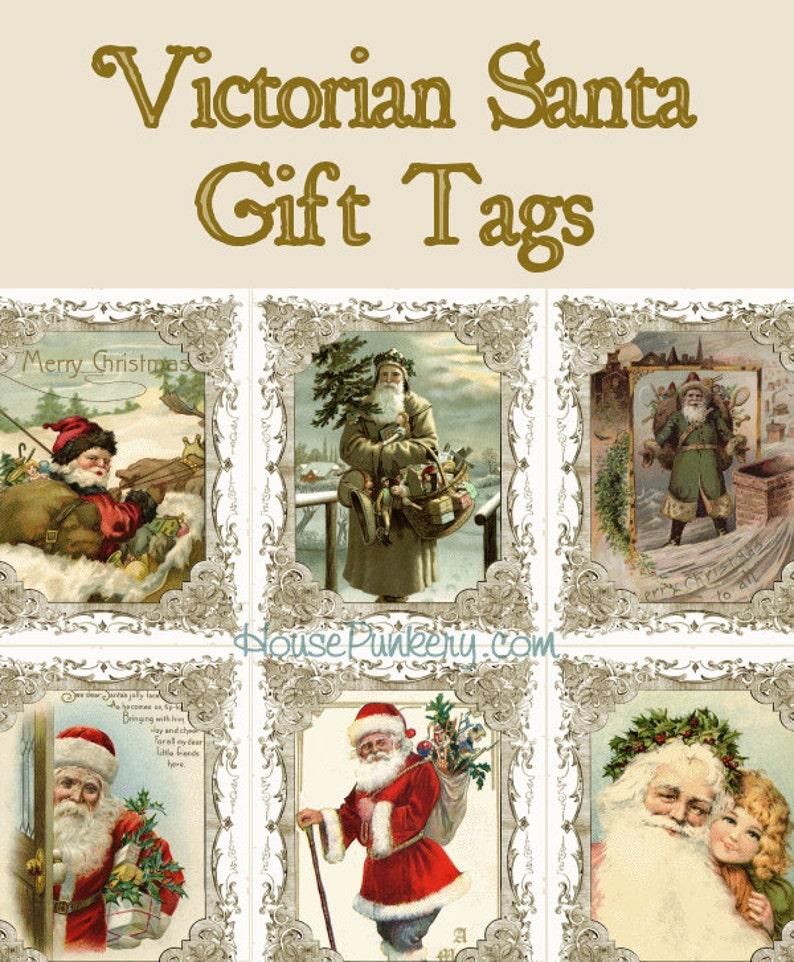 Victorian Santa Christmas Gift Tags printable instant download image 0