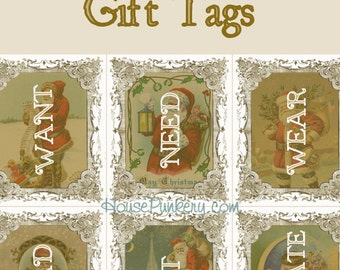 Want, Need, Wear, Read, Eat, Create Gift Tags printable instant download 6 per page