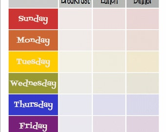 Retro Rainbow Diner Weekly Meal Plan Print with Breakfast Lunch & Dinner. Vintage look for your kitchen.