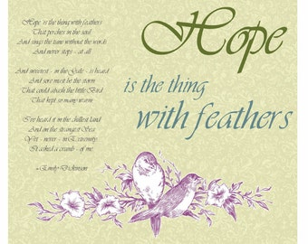 Hope Poem by Emily Dickinson Spring Print with birds, vintage look