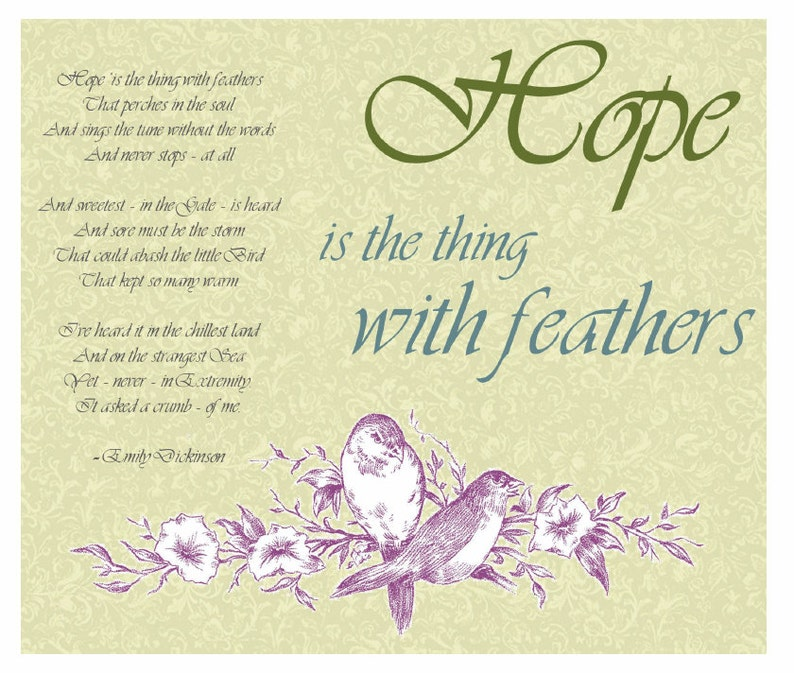 Hope Poem by Emily Dickinson Spring Print with birds vintage image 0