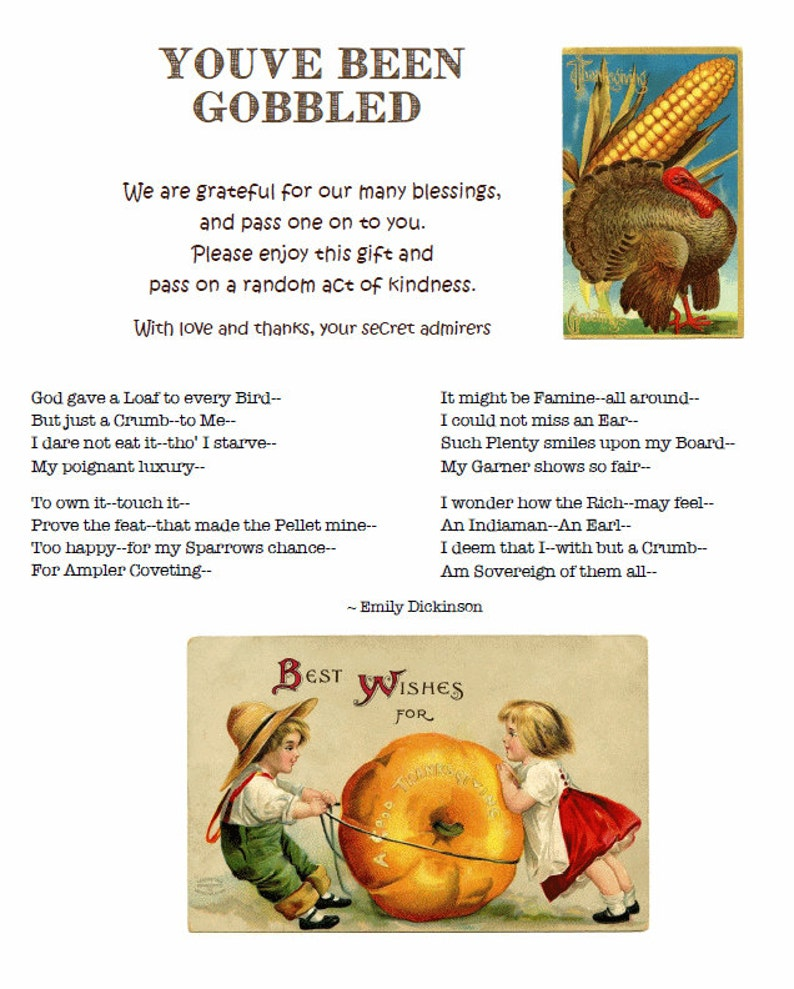Youve Been Gobbled Fall Sign with Grateful Emily Dickinson image 0