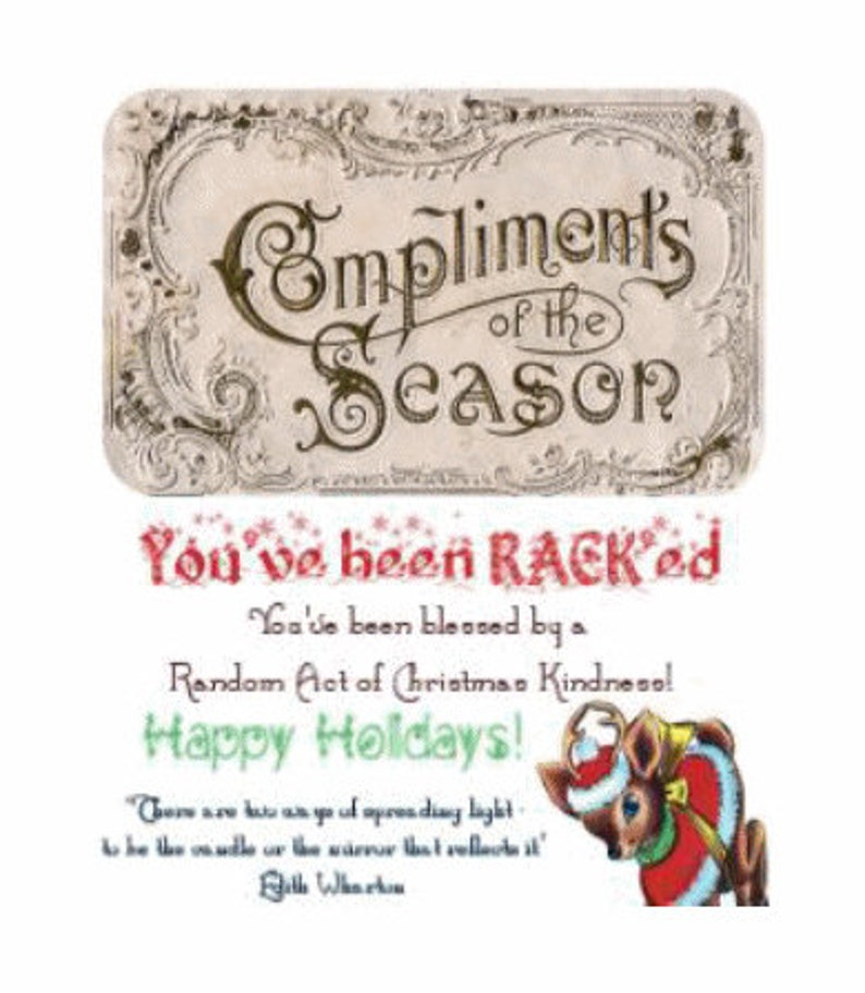 RACK Calling Cards Printable Random Acts of Christmas Kindness image 0