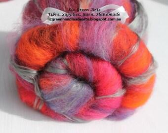 """Liz Green Arts """"Atlantis"""" Mini Batt ~ Hand Dyed """"Atlantis"""" Alpaca, """"Silver"""" Mulberry Silk Fibre Batt Spinning Felting"""