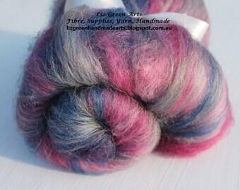 "Liz Green Arts ""New Moon"" Mini Batt ~ Hand Dyed Alpaca, ""Silver"" Wool Acrylic Nylon Blend Fibre Batt Spinning Felting"
