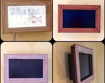 "Diana's Shabby Chic Wood Flatscreen TV Frame 39"" VIZIO CUSTOM"