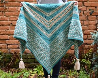 PATTERN - Amaya Mosaic Shawl - crochet pattern - ornamental - geometric - instant download