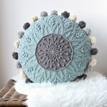 PATTERN: Sakura cabled crochet mandala - round pillow - overlay crochet - cables - with pompoms