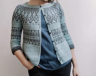 PATTERN - Fjell cardigan - mosaic crochet pattern - round yoke - colourwork - instand download