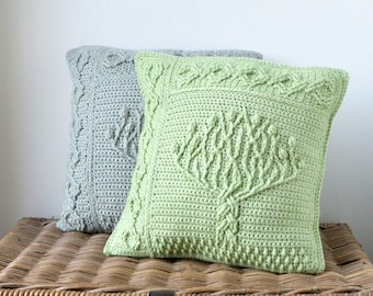 Overlay crochet PATTERN - Tree of life pillow - crochet pillow throw - cabled square - celtic knots - instant download