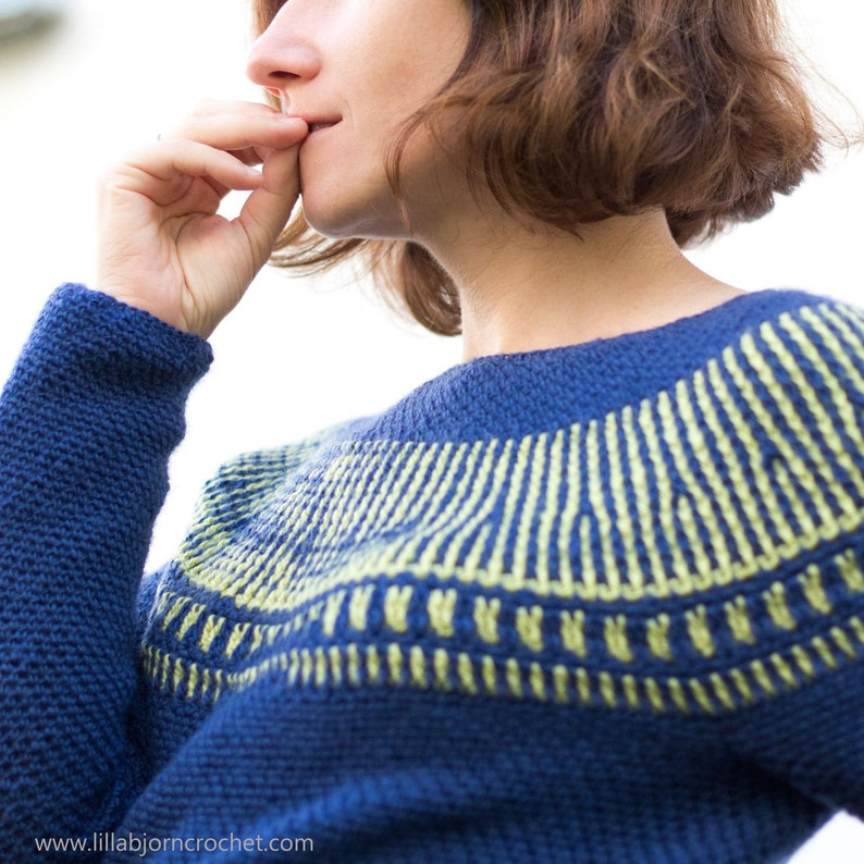 cfb3e6b56250 PATTERN crochet brioche sweater top down pullover fitted