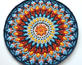 Spanish Mandala - overlay crochet PATTERN - round colorful cushion - instant download