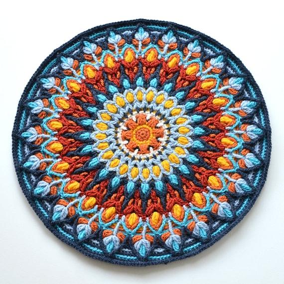 Spanische Mandala Overlay häkeln Muster Runde bunte Kissen | Etsy