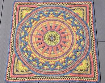PATTERN - Sunny Border - Mandala in Square - overlay crochet - textured square - blanket - wall hanging - meditation