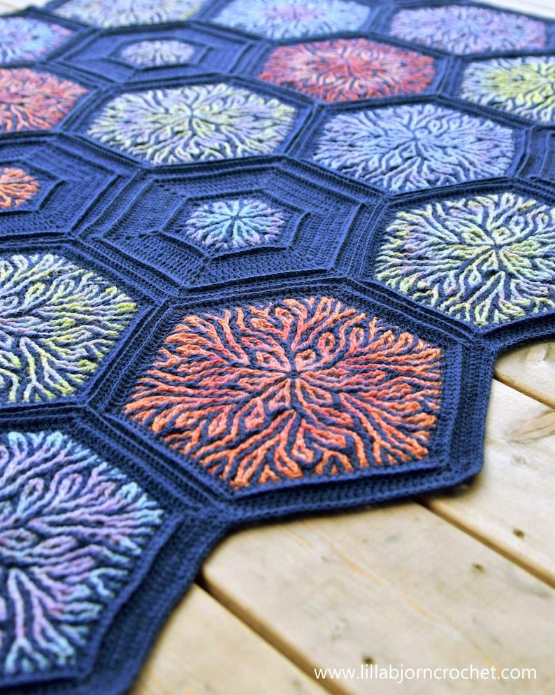 PATTERN  Coral Story Blanket  brioche crochet pattern  image 0