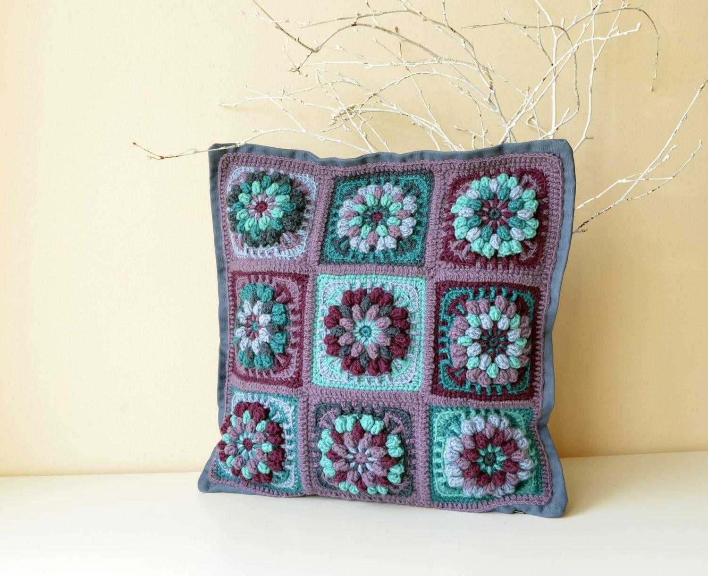 Pdf Pattern Of Crocheted Pillowcase Flower Granny Square Etsy