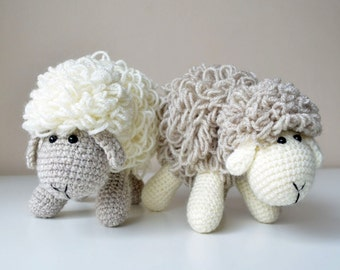 Crochet Sheep Pattern - White and gray amigurumi doll - pdf - instant download