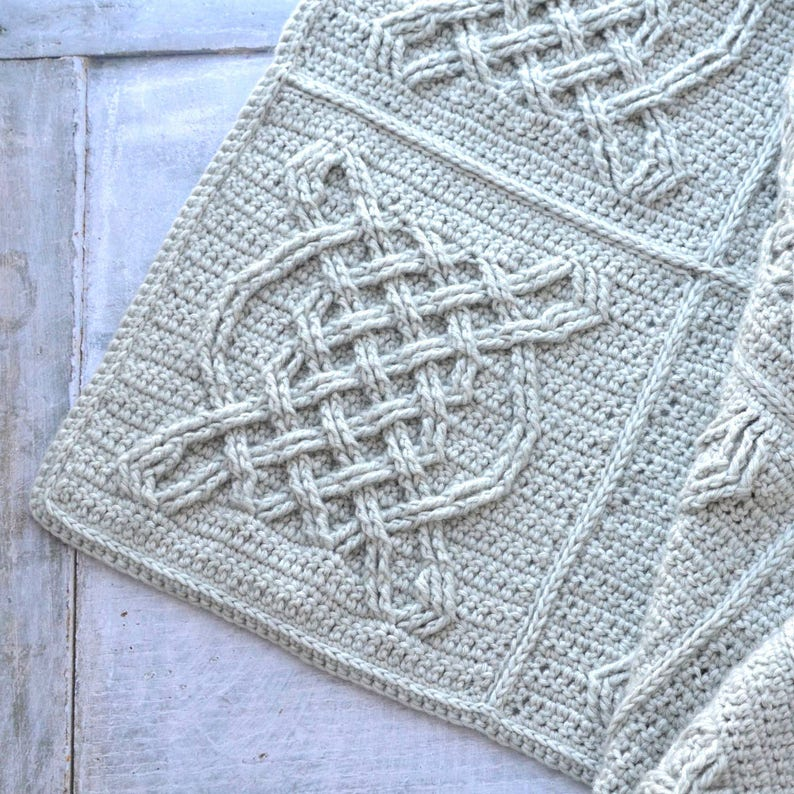 Crochet Pattern Celtic Knot Crochet Blanket 12 Inches Etsy