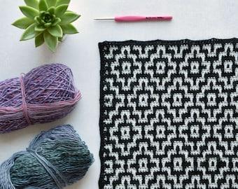 PATTERN mosaic crochet - Nya Infinity Mosaic Blanket - easy - instant download