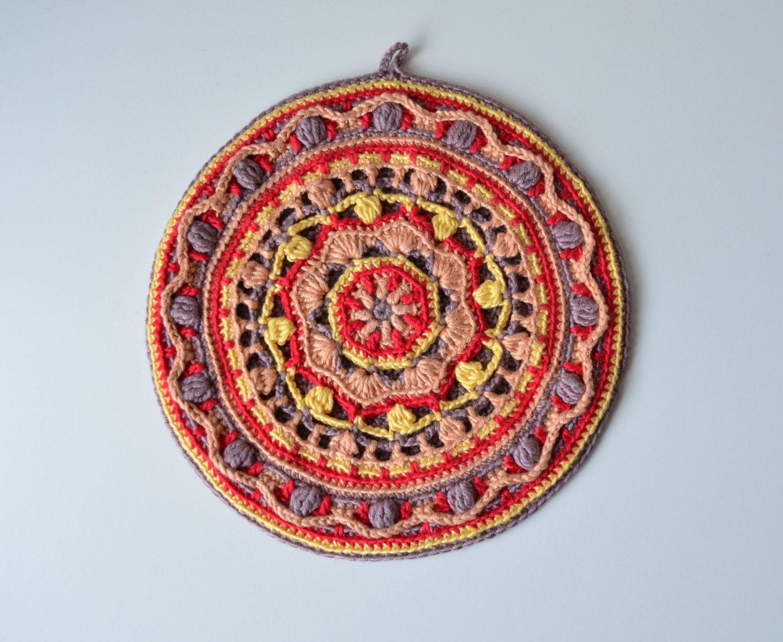 Crocheted Potholder Pattern Round Mandala Pot Holder Etsy