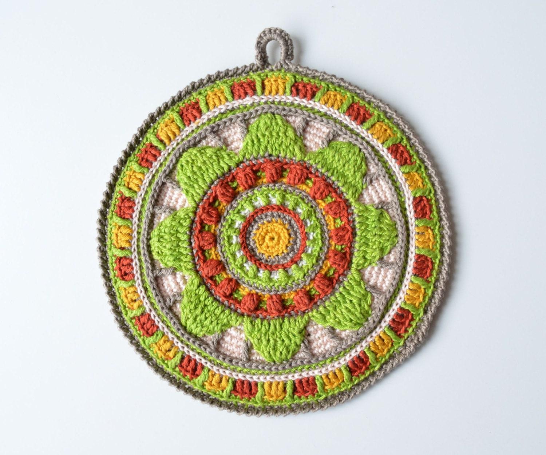 PATTERN Crocheted Potholder Stained glass mandala Overlay | Etsy