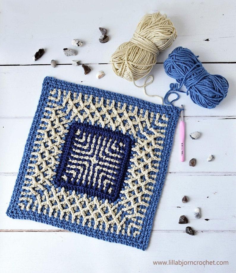 PATTERN  Sea Square  linen stitch and brioche crochet  image 0