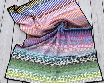 PATTERN: Mosaic Blanket Crochet pattern - a very rainbow blanket - mosaic crochet technique