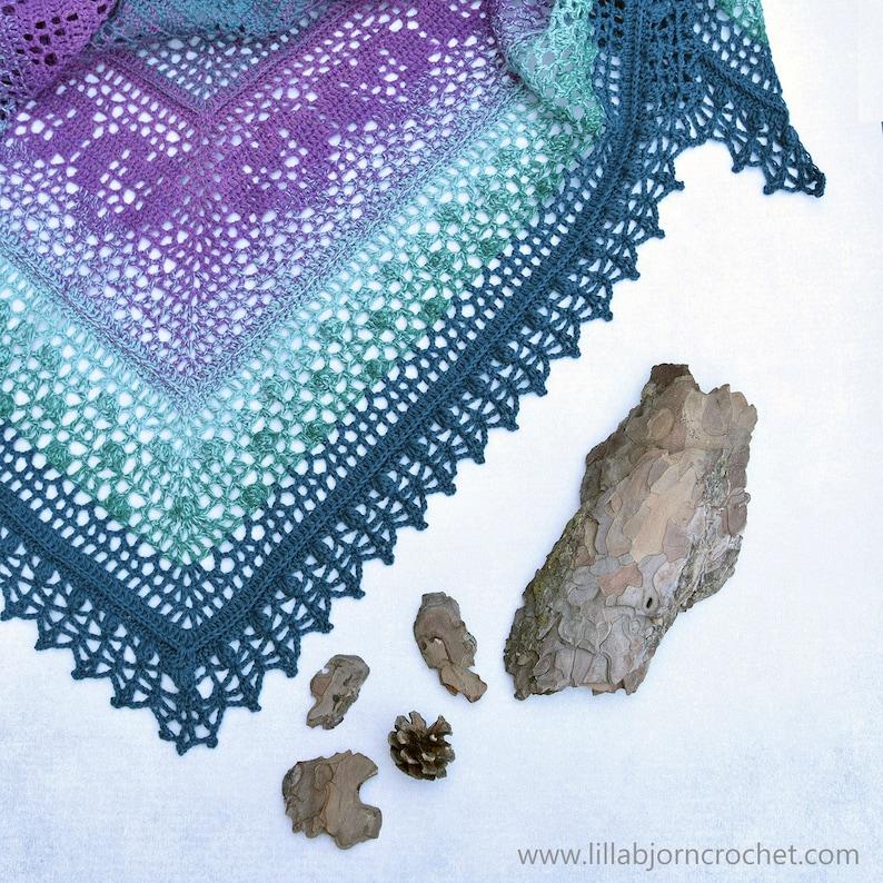 PATTERN  Grinda Shawl  lace triangle shawl with hearts  image 0