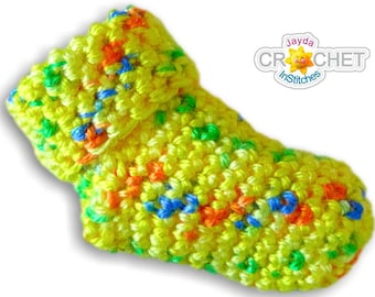 Crochet Baby Socks or Booties Pattern - Sizes for Preemie to Six Months - PDF - Jayda InStitches
