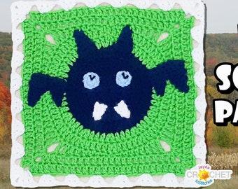 Bat Crochet PATTERN PDF - Calendar Blanket Motif - 11.5 inch Square - Vampire Bat, Creepy Cute, Halloween - Jayda InStitches