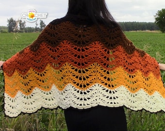 Delightfully fun and easy crochet patterns by jaydainstitches autumn moon wrap crochet pdf pattern blanket scarf feather fan stitch jayda institches fandeluxe Image collections