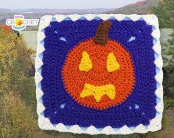 Jack-O-Lantern Square Crochet PATTERN PDF - October Calendar Blanket Motif - 11.5 inch Square - Pumpkin, Halloween, Thanksgiving Square