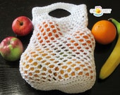 Fruit Vegetable Mesh Shopping Bag - Crochet PATTERN PDF - Eco-Friendly Produce Market Sack - Jayda InStitches