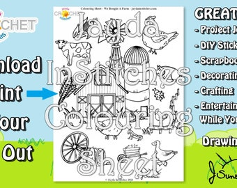 """Colouring Sheet """"We Bought A Farm"""" Theme - PDF Digital DOWNLOAD 1 Page - Adult or Kids for Scrapbooking or Journaling - Jayda InStitches"""