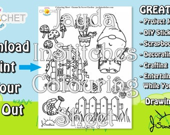 """Colouring Sheet """"Gnome in Secret Garden"""" Theme - PDF Digital DOWNLOAD 1 Page - for Scrapbooking or Journaling - Jayda InStitches"""