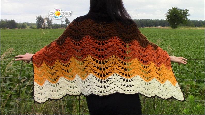 Autumn Moon Wrap  Crochet PDF PATTERN  Blanket Scarf image 0
