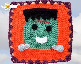 Frankenstein's Monster Crochet PATTERN PDF - Calendar Blanket Motif - 11.5 inch Square - Creepy Cute, Halloween - Jayda InStitches